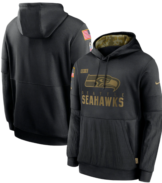 Men's Seattle Seahawks 2020 Black Salute to Service Sideline Performance Pullover Hoodie