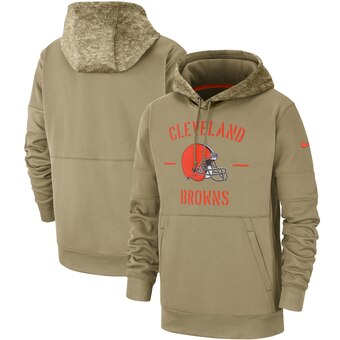 Men's Cleveland Browns Tan 2019 Salute to Service Sideline Therma Pullover Hoodie