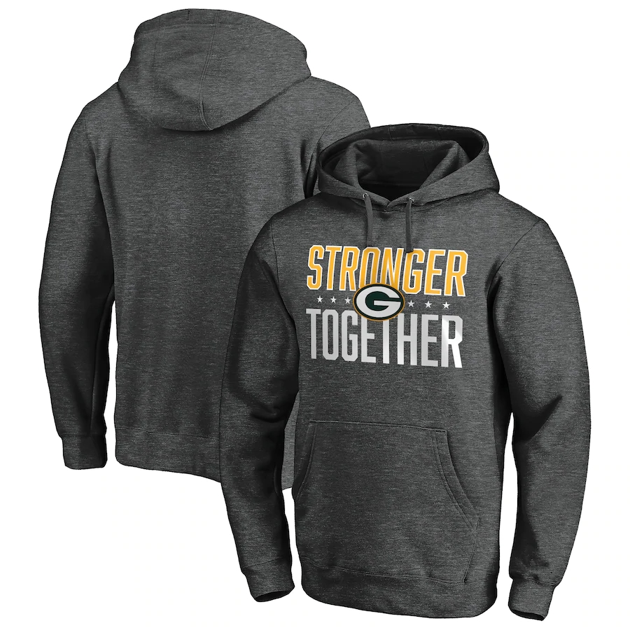Men's Green Bay Packers Heather Charcoal Stronger Together Pullover Hoodie
