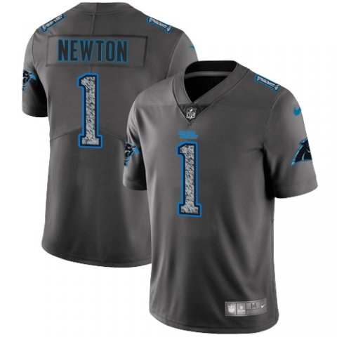 Men's Carolina Panthers #1 Cam Newton 2019 Gray Fashion Static Limited Stitched NFL Jersey
