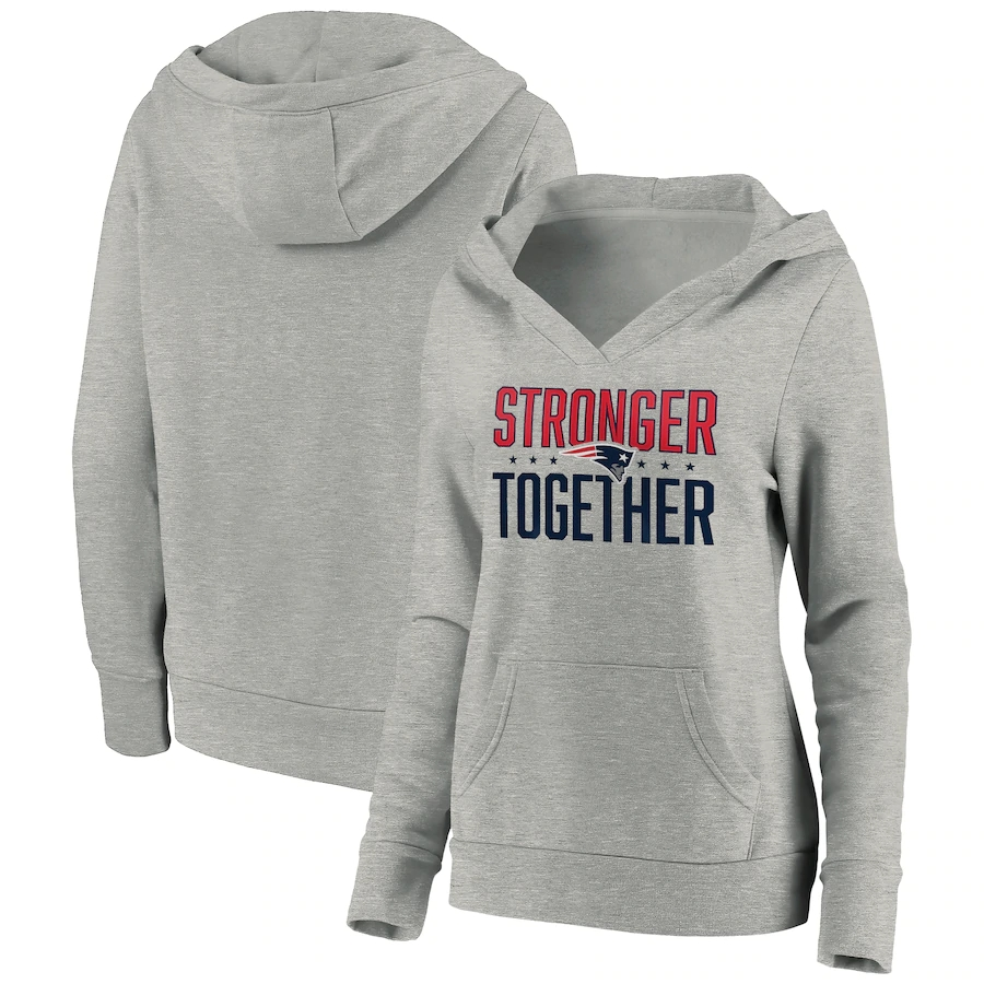 Women's New England Patriots Heather Gray Stronger Together Crossover Neck Pullover Hoodie(Run Small)