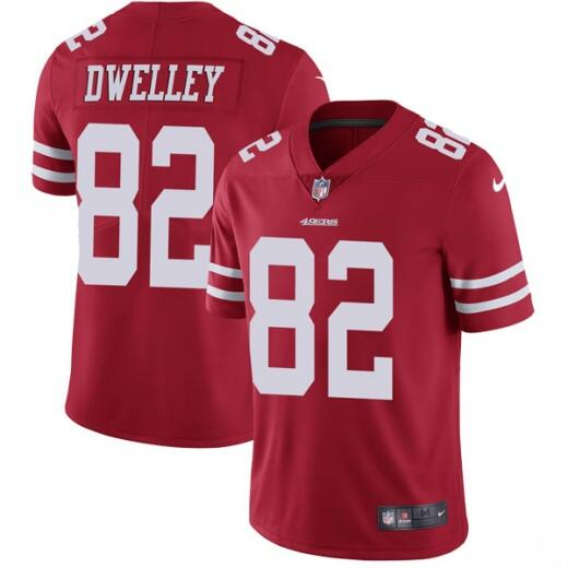Men's San Francisco 49ers #82 Ross Dwelley Red Vapor Untouchable Limited Stitched NFL Jersey