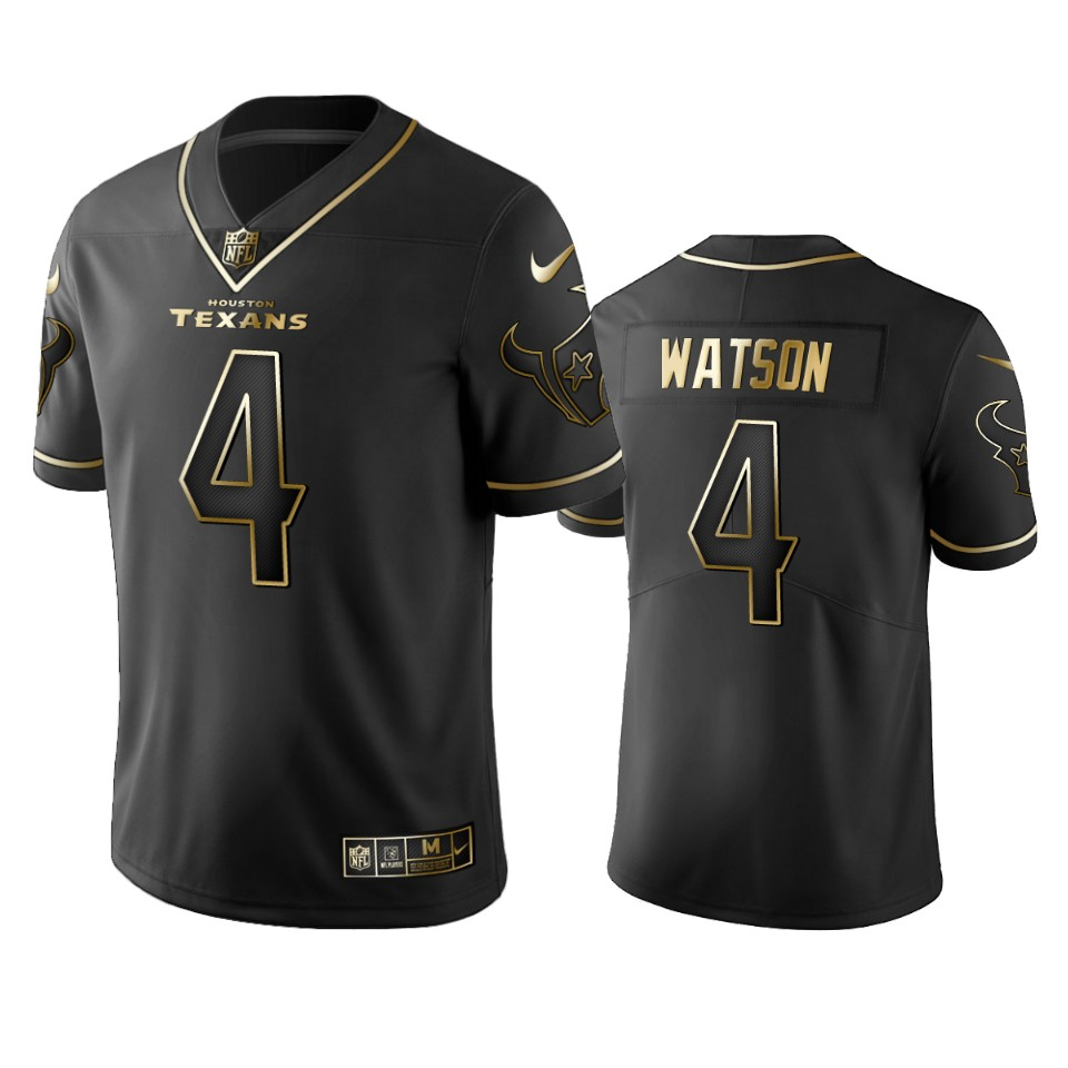 Men's Houston Texans #4 Deshaun Watson Black 2019 Golden Edition Limited Stitched NFL Jersey