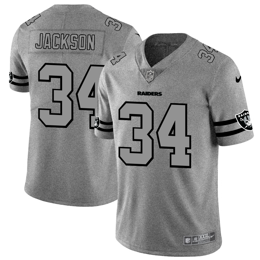 Men's Oakland Raiders #34 Bo Jackson 2019 Gray Gridiron Team Logo Limited Stitched NFL Jersey