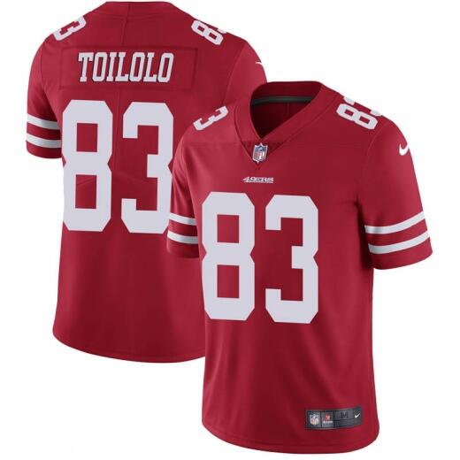 Men's San Francisco 49ers #83 Levine Toilolo Red Vapor Untouchable Limited Stitched NFL Jersey