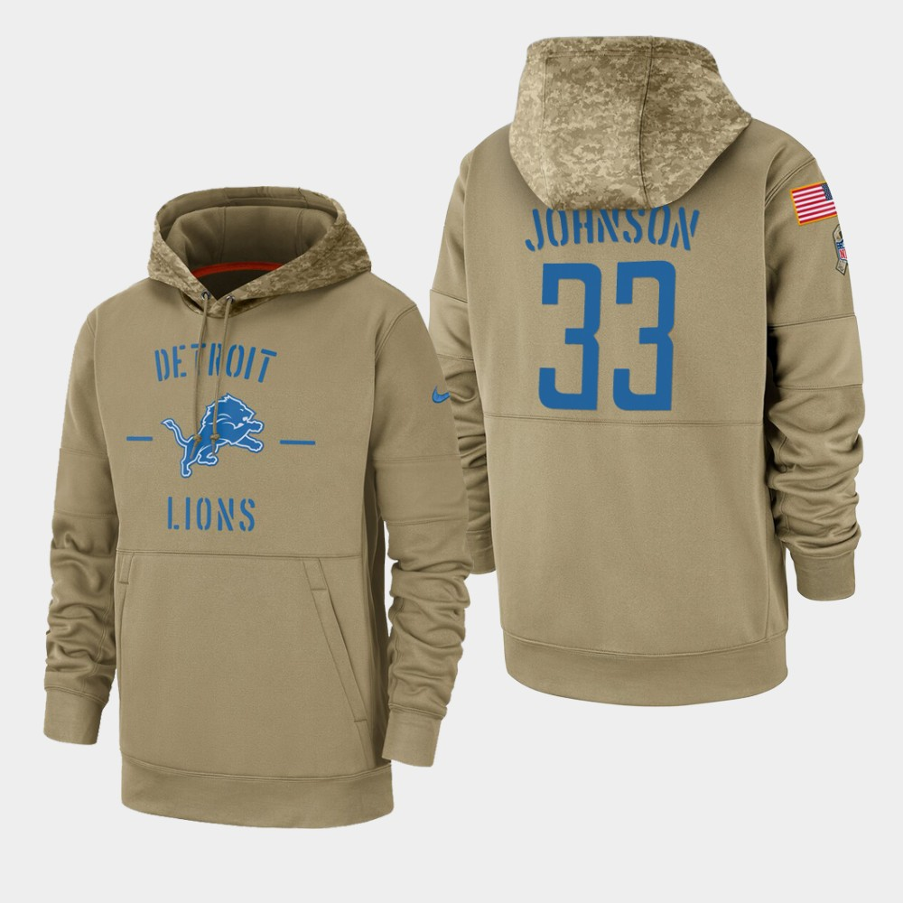 Men's Detroit Lions #33 Kerryon Johnson Tan 2019 Salute to Service Sideline Therma Pullover Hoodie