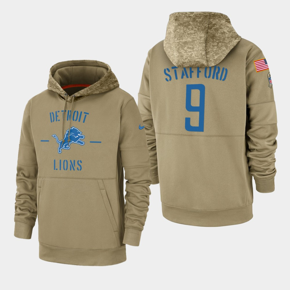 Men's Detroit Lions #9 Matthew Stafford Tan 2019 Salute to Service Sideline Therma Pullover Hoodie