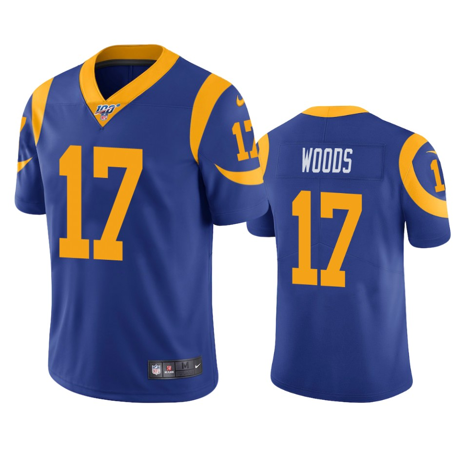 Men's Los Angeles Rams #17 Robert Woods Blue 2019 100th Season Vapor Untouchable Limited Stitched NFL Jersey