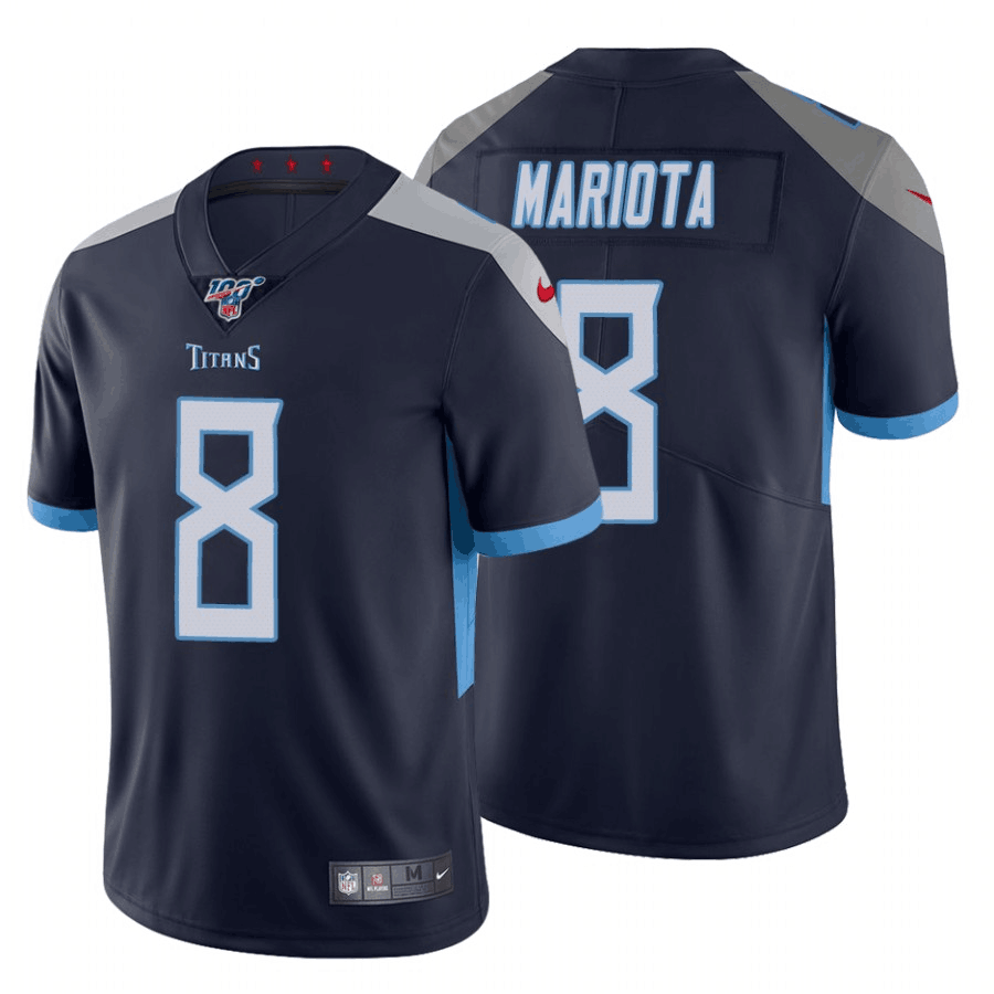 Men's Tennessee Titans #8 Marcus Mariota Navy 2019 100th Season Vapor Untouchable Limited Stitched NFL Jersey