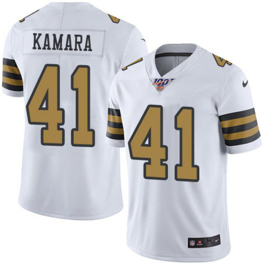 Men's New Orleans Saints #41 Alvin Kamara White 2019 100th Season Color Rush Limited Stitched NFL Jersey