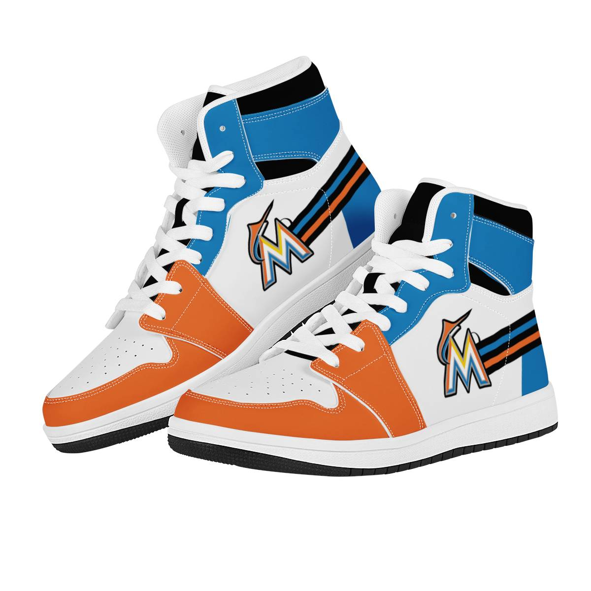 Women's Miami Marlins High Top Leather AJ1 Sneakers 001