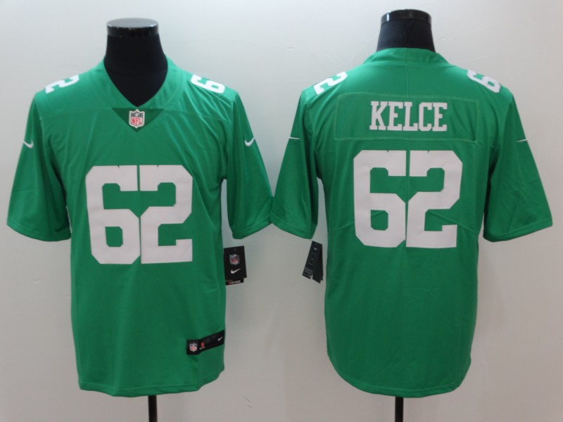 Men's Philadelphia Eagles #62 Jason Kelce Green Throwback Vapor Untouchable Limited Stitched NFL Jersey