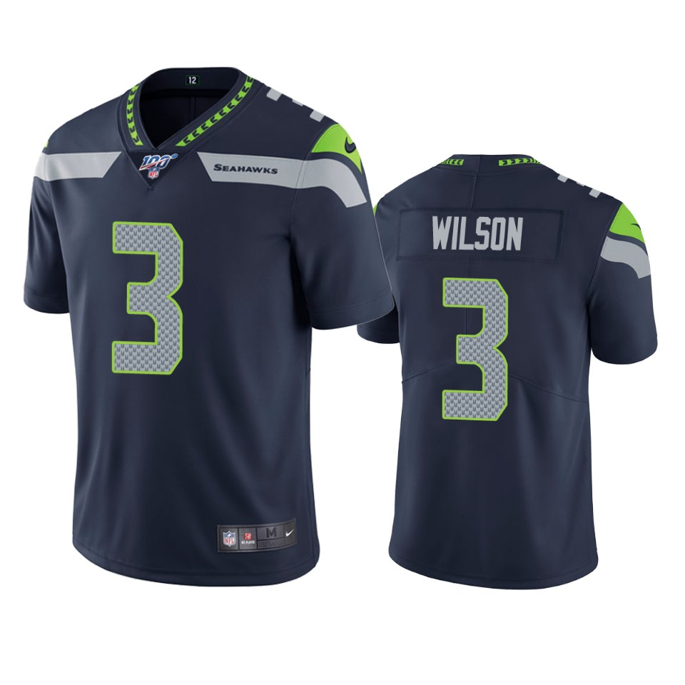 Men's Seattle Seahawks #3 Russell Wilson Navy 2019 100th Season Vapor Untouchable Limited Stitched NFL Jersey
