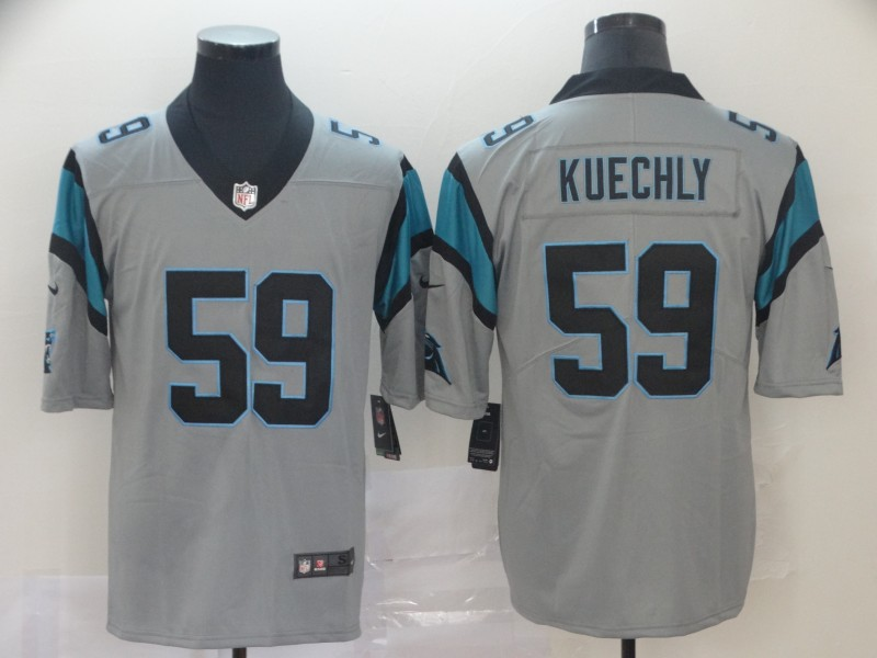 Men's Carolina Panthers #59 Luke Kuechly Silver Inverted Legend Stitched NFL Jersey