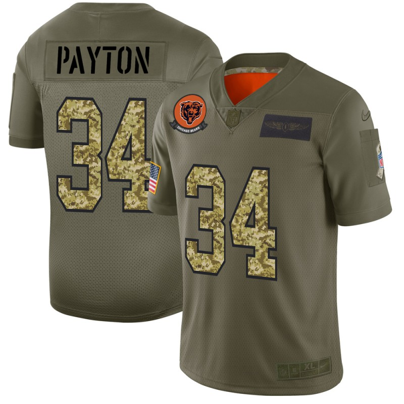 Men's Chicago Bears #34 Walter Payton 2019 Olive/Camo Salute To Service Limited Stitched NFL Jersey