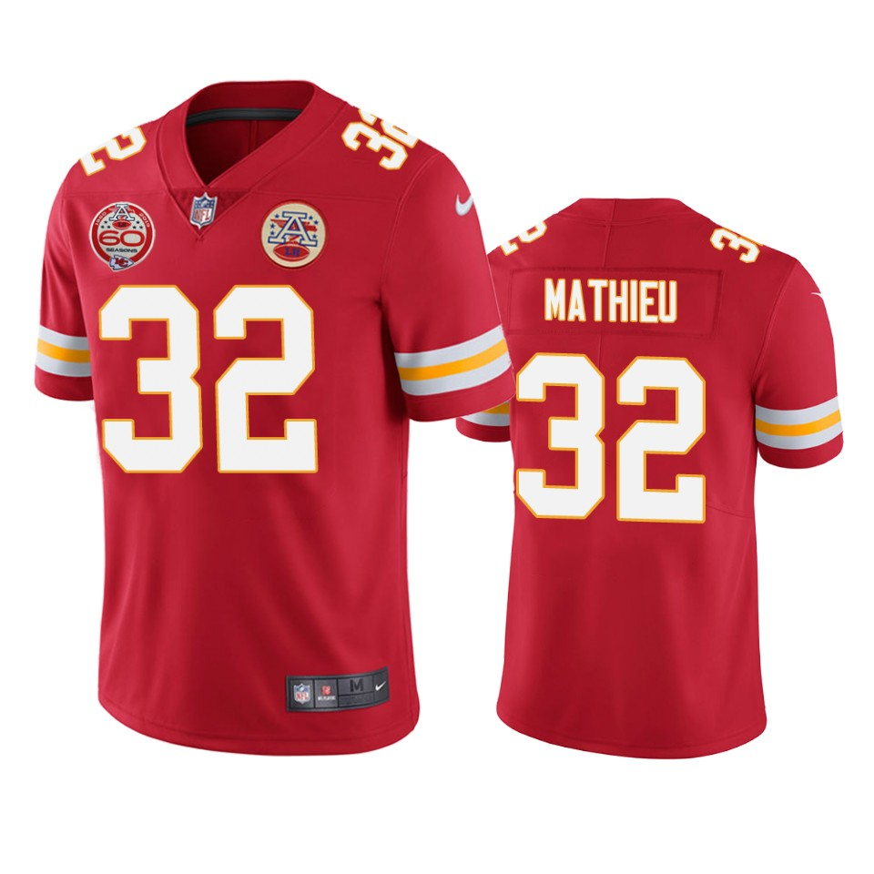 Men's Kansas City Chiefs #32 Tyrann Mathieu Red 2019 60th Anniversary Limited Stitched NFL Jersey