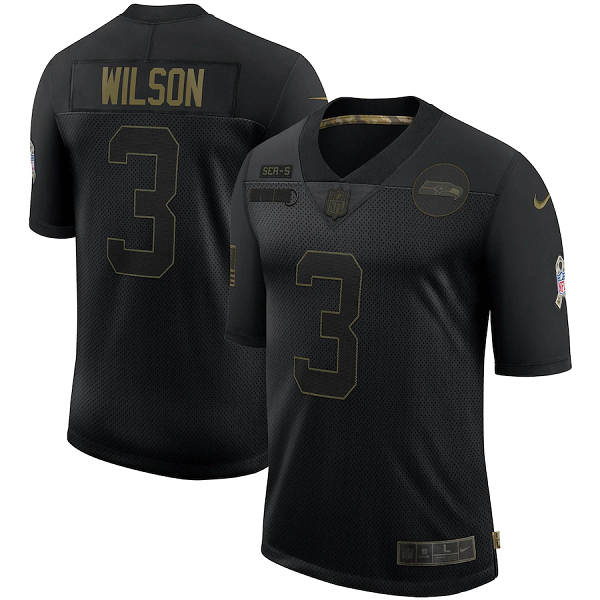Men's Seattle Seahawks #3 Russell Wilson 2020 Black Salute To Service Limited Stitched Jersey