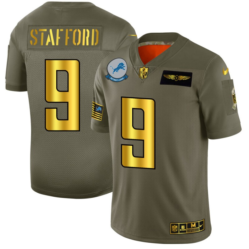 Men's Detroit Lions #9 Matthew Stafford 2019 Olive/Gold Salute To Service Limited Stitched NFL Jersey