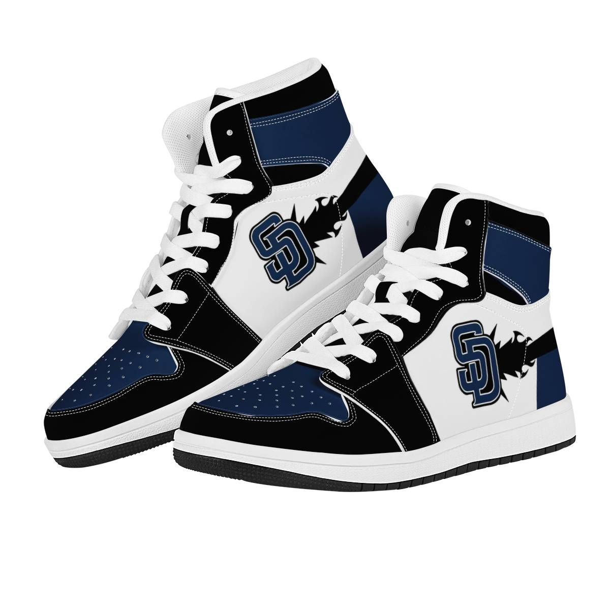 Women's San Diego Padres High Top Leather AJ1 Sneakers 001