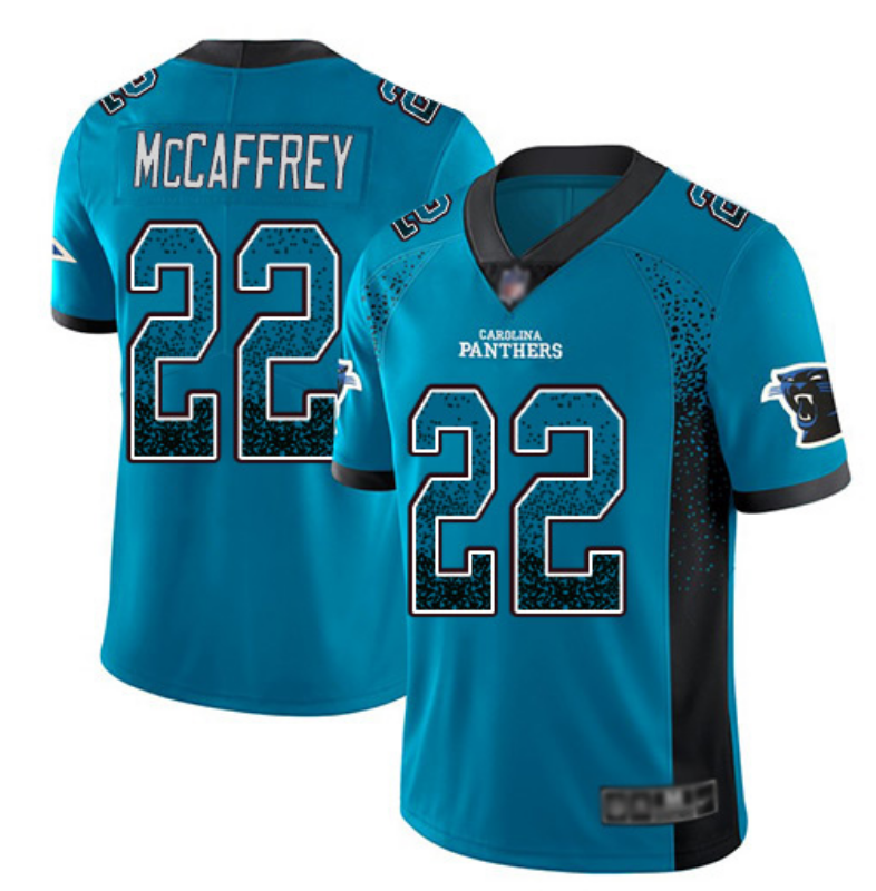 Men's Carolina Panthers #22 Christian McCaffrey Blue Drift Fashion Color Rush Limited Stitched NFL Jersey