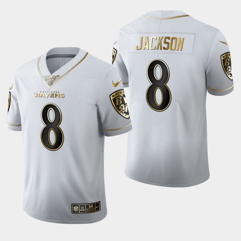 Men's Baltimore Ravens #8 Lamar Jackson White 2019 100th Season Golden Edition Limited Stitched NFL Jersey