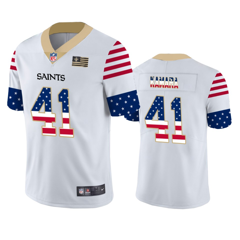 Men's New Orleans Saints #41 Alvin Kamara White 2019 USA Flag Fashion Limited Stitched NFL Jersey