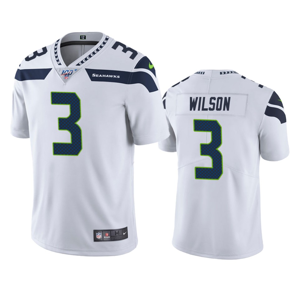 Men's Seattle Seahawks #3 Russell Wilson White 2019 100th Season Vapor Untouchable Limited Stitched NFL Jersey