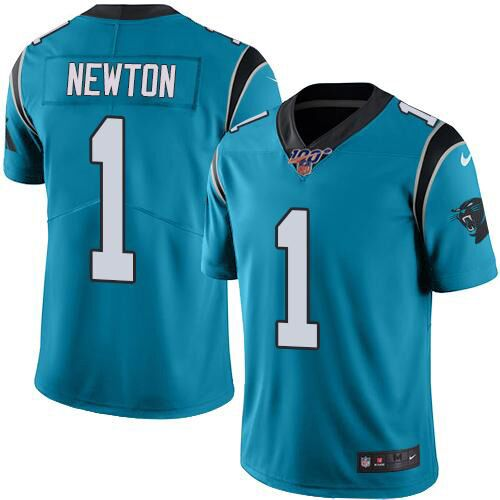 Men's Carolina Panthers #1 Cam Newton Blue 2019 100th Season Vapor Untouchable Limited Stitched NFL Jersey