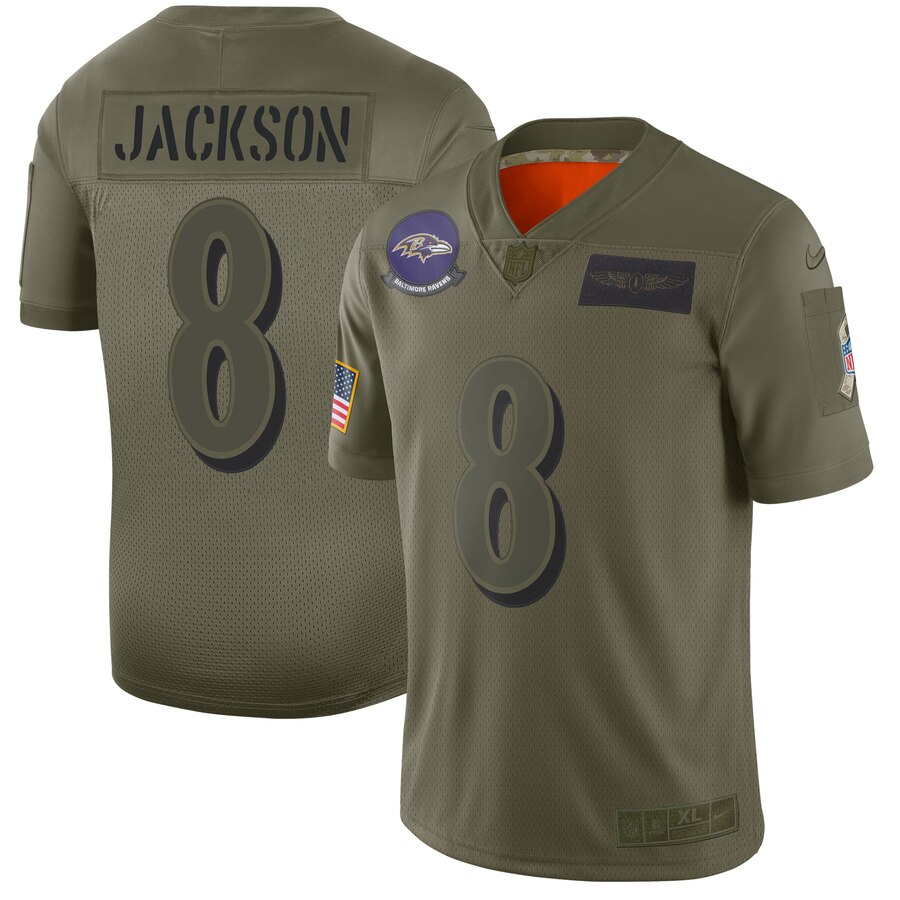 Men's Baltimore Ravens #8 Lamar Jackson 2019 Camo Salute To Service Stitched NFL Jersey