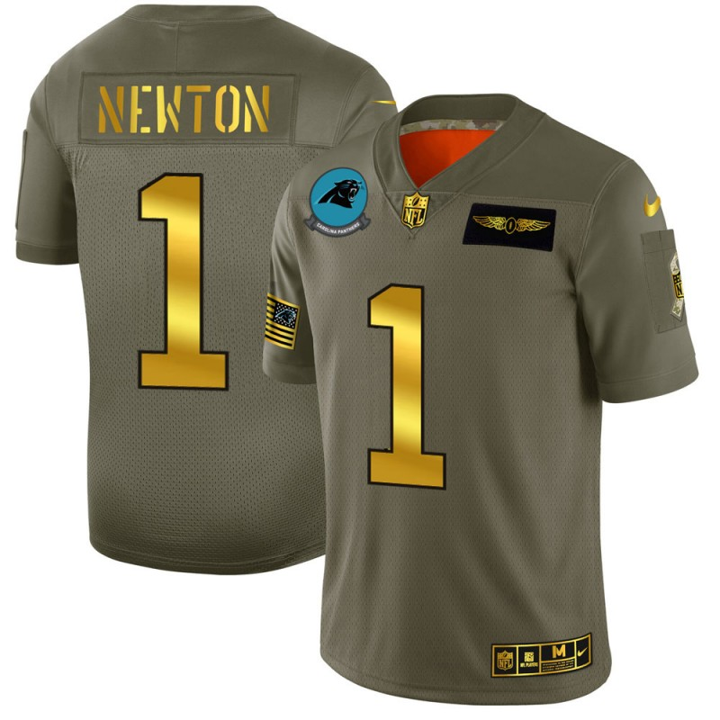 Men's Carolina Panthers #1 Cam Newton 2019 Olive/Gold Salute To Service Limited Stitched NFL Jersey