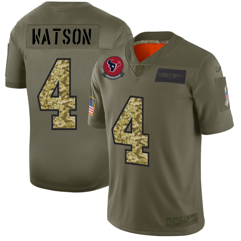Men's Houston Texans #4 Deshaun Watson 2019 Olive/Camo Salute To Service Limited Stitched NFL Jersey