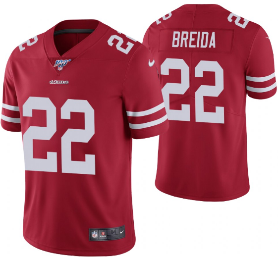 Men's San Francisco 49ers #22 Matt Breida Red 2019 100th season Vapor Untouchable Limited Stitched NFL Jersey