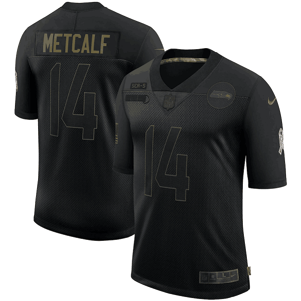 Men's Seattle Seahawks #14 D.K. Metcalf 2020 Black Salute To Service Limited Stitched Jersey