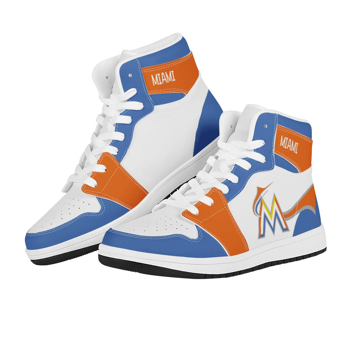 Women's Miami Marlins High Top Leather AJ1 Sneakers 002