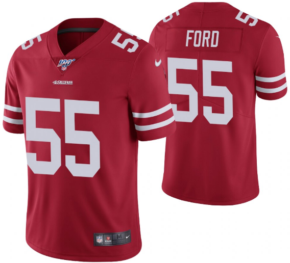 Men's San Francisco 49ers #55 Dee Ford Red 2019 100th season Vapor Untouchable Limited Stitched NFL Jersey