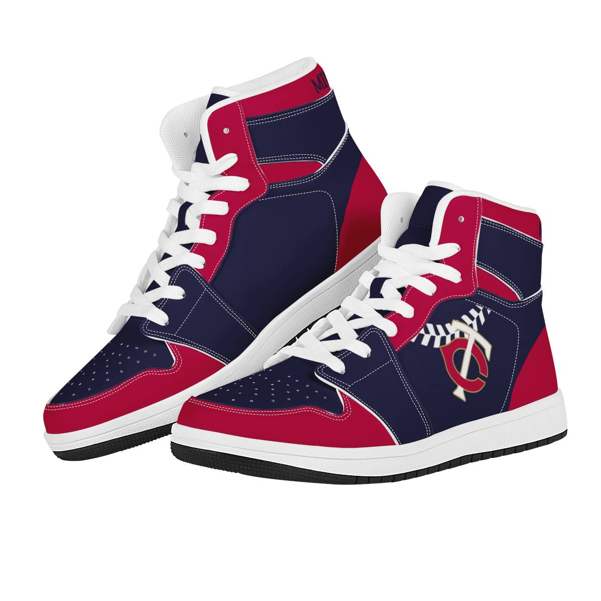Men's Minnesota Twins High Top Leather AJ1 Sneakers 002