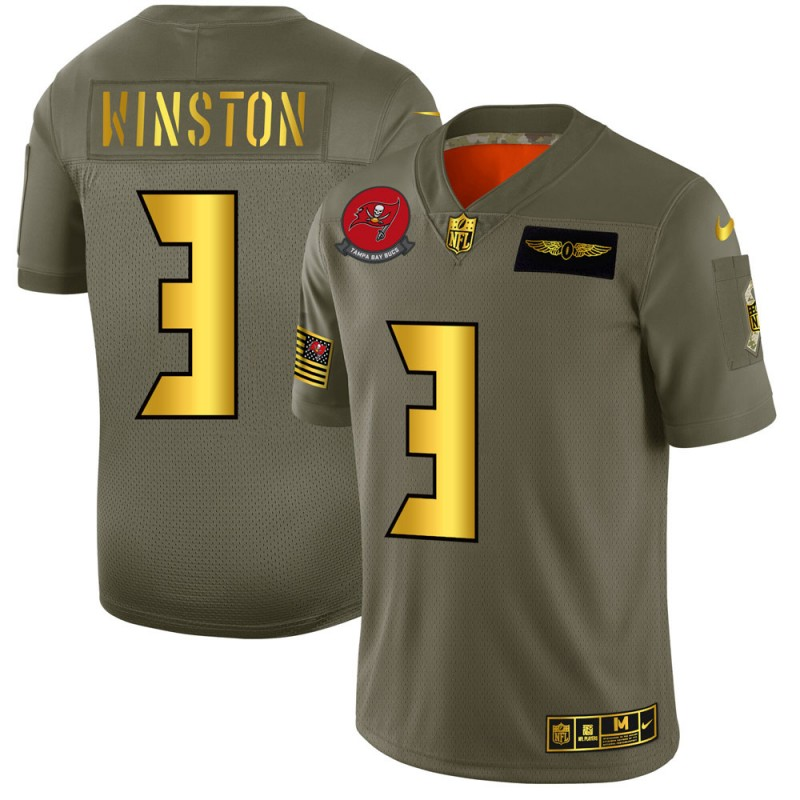 Men's Tampa Bay Buccaneers #3 Jameis Winston 2019 Olive/Gold Salute To Service Limited Stitched NFL Jersey