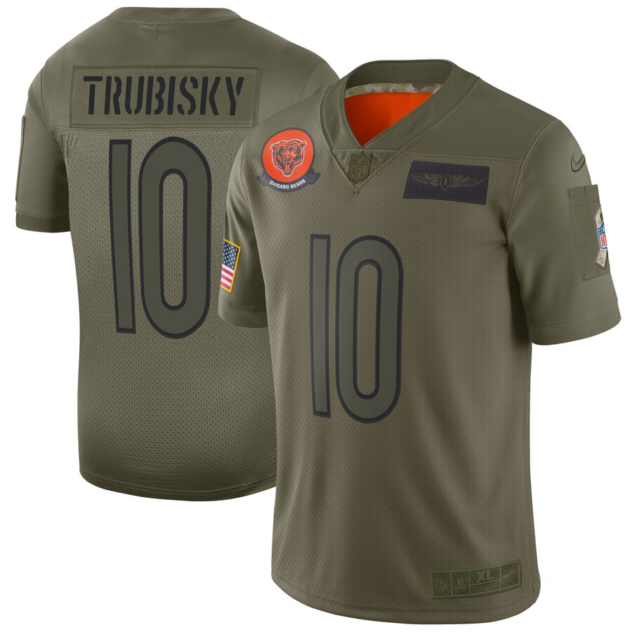 Men's Chicago Bears #10 Mitchell Trubisky 2019 Camo Salute To Service Limited Stitched NFL Jersey