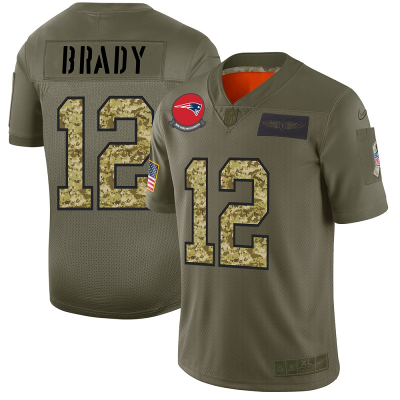 Men's New England Patriots #12 Tom Brady 2019 Olive/Camo Salute To Service Limited Stitched NFL Jersey