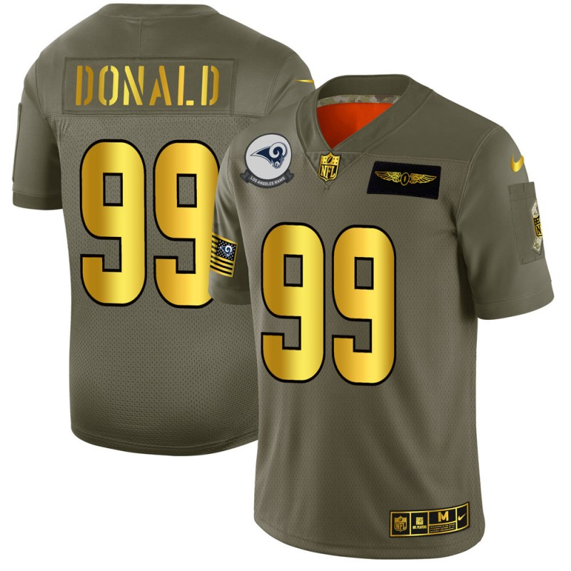 Men's Los Angeles Rams #99 Aaron Donald 2019 Olive/Gold Salute To Service Limited Stitched NFL Jersey