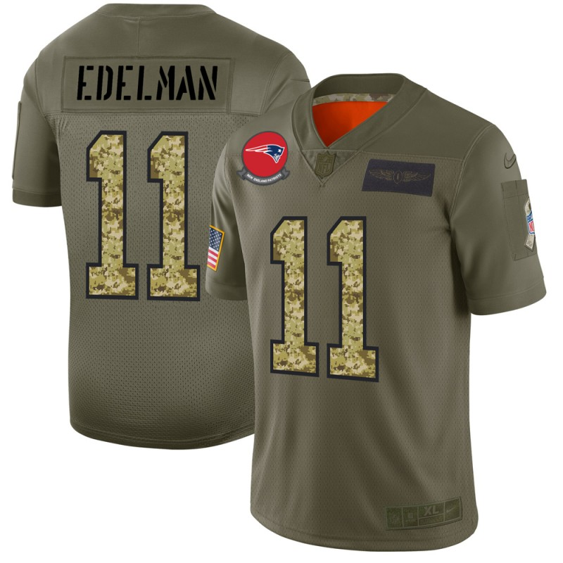 Men's New England Patriots #11 Julian Edelman 2019 Olive/Camo Salute To Service Limited Stitched NFL Jersey