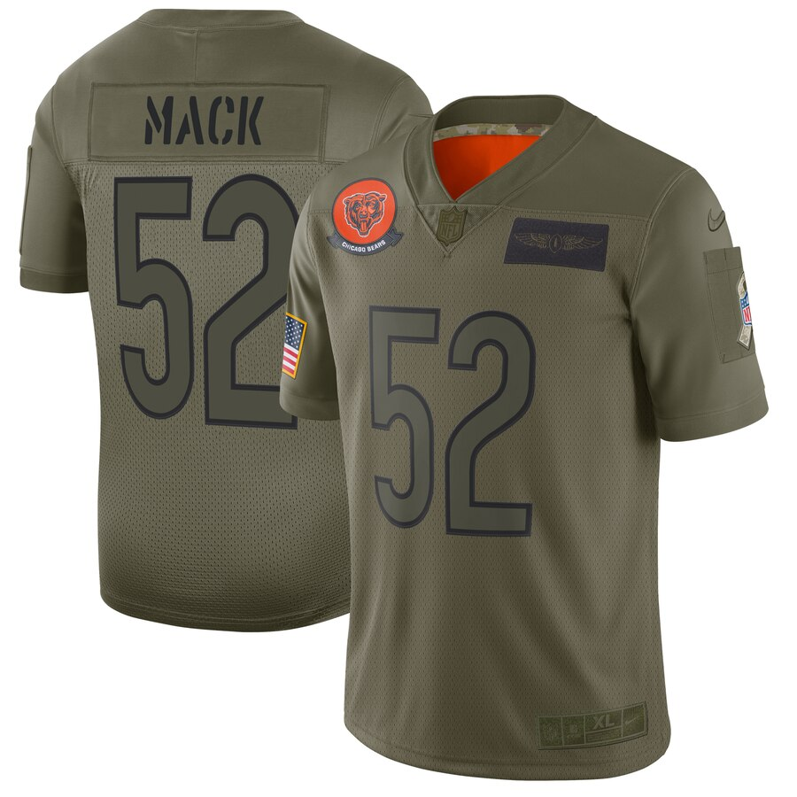 Men's Chicago Bears #52 Khalil Mack 2019 Camo Salute To Service Limited Stitched NFL Jersey