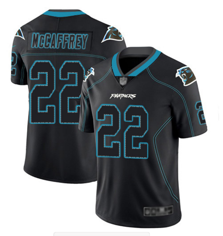 Men's Carolina Panthers #22 Christian McCaffrey Black Lights Out Color Rush NFL Limited Stitched Jersey
