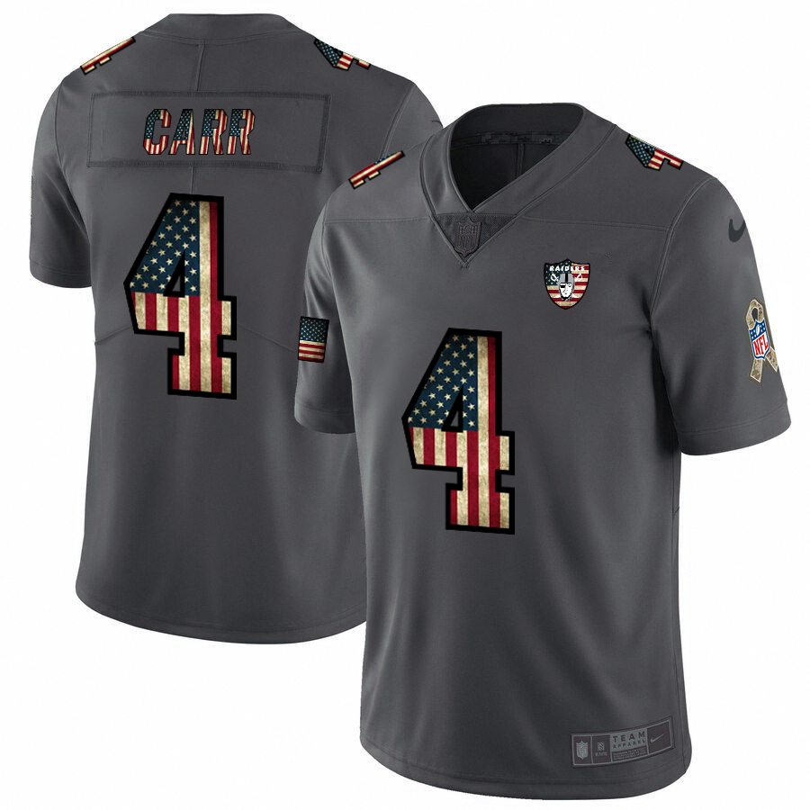 Men's Oakland Raiders #4 Derek Carr Grey 2019 Salute To Service USA Flag Fashion Limited Stitched NFL Jersey