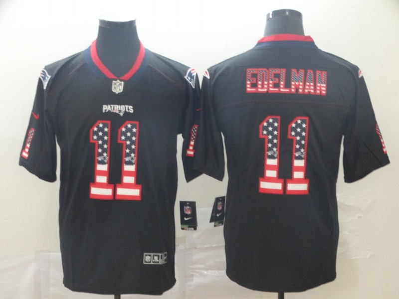 Men's New England Patriots #11 Julian Edelman Black 2018 USA Flag Color Rush Limited Fashion NFL Stitched Jersey