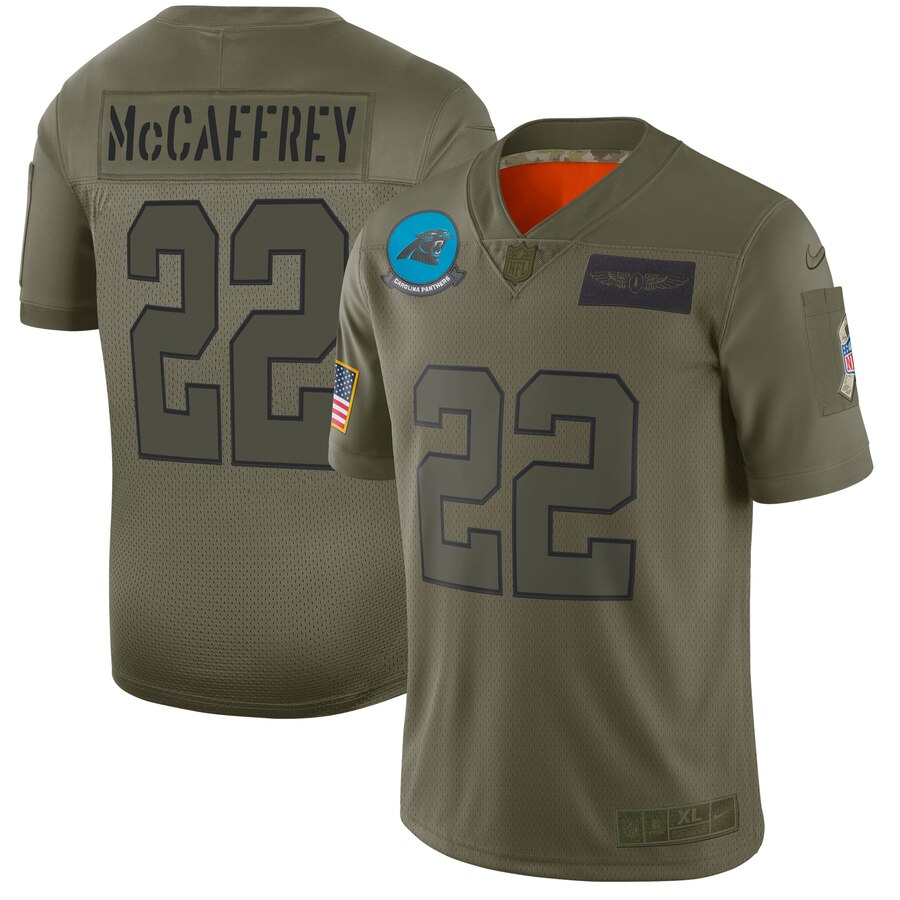 Men's Carolina Panthers #22 Christian McCaffrey 2019 Camo Salute To Service Limited Stitched NFL Jersey