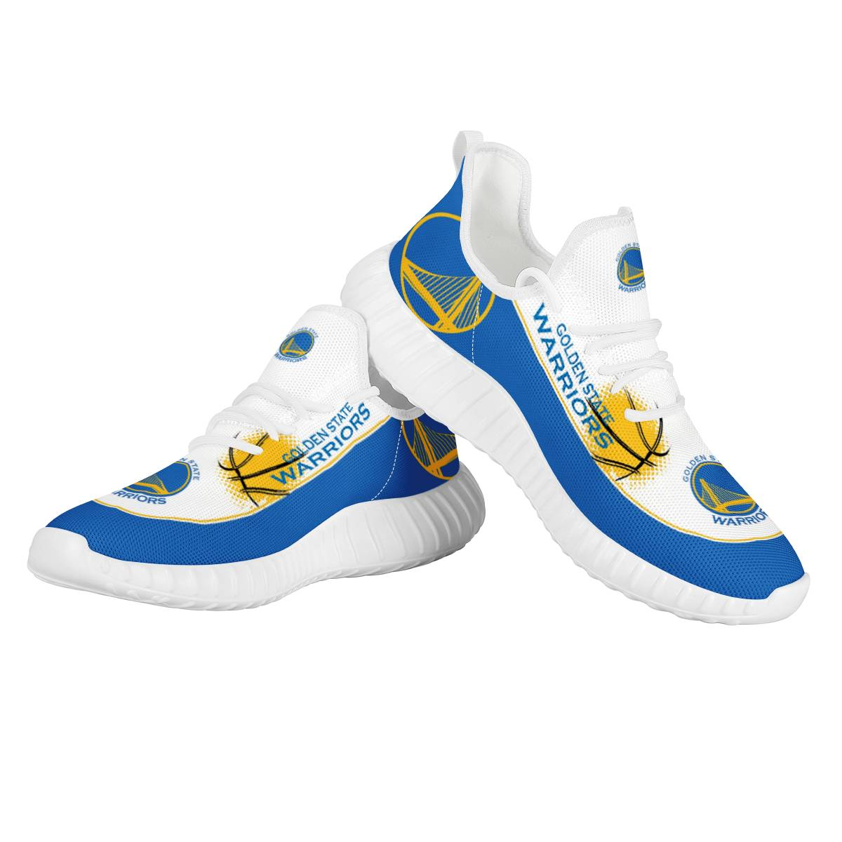 Men's Golden State Warriors Mesh Knit Sneakers/Shoes 002