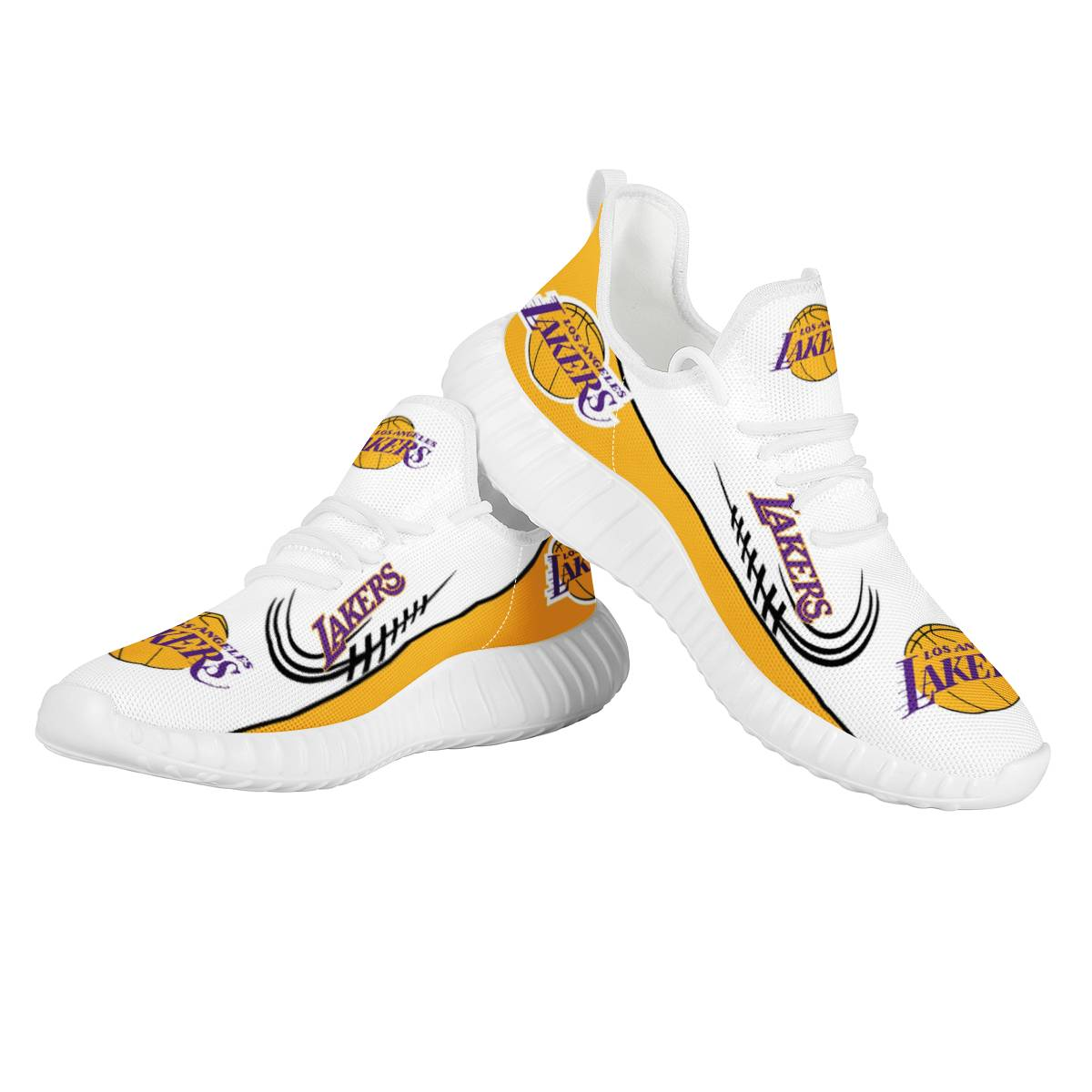 Women's Los Angeles Lakers Mesh Knit Sneakers/Shoes 003