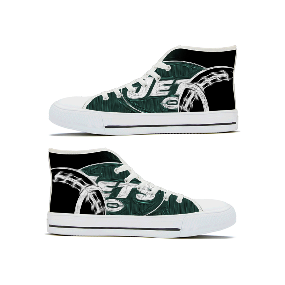 Women's New York Jets High Top Canvas Sneakers 001