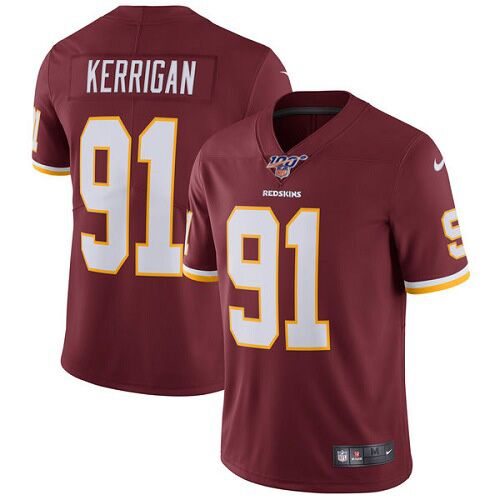 Men's Washington Redskins #91 Ryan Kerrigan Red 2019 100th season Vapor Untouchable Limited Stitched NFL Jersey